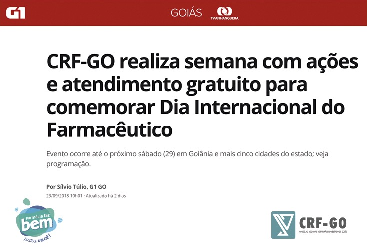 CRF-GO | Semana do Farmacêutico é noticia no G1 Goiás