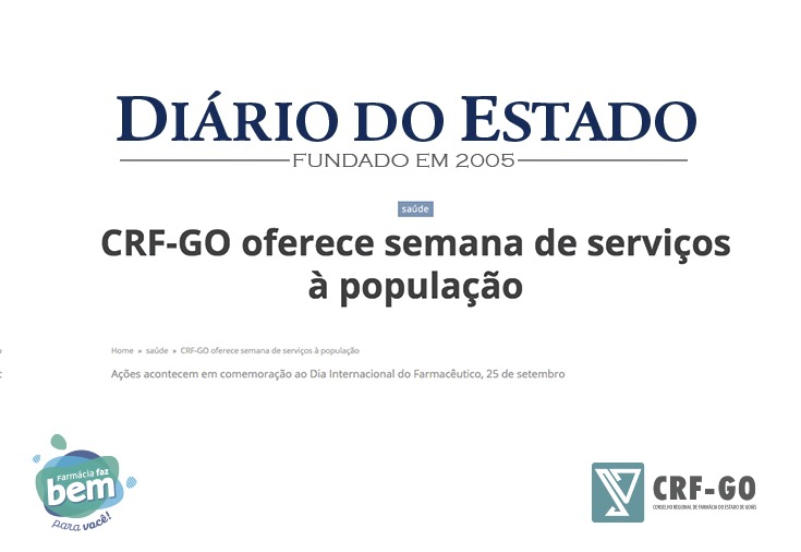 CRF-GO | Diário do Estado noticia Semana do Farmacêutico