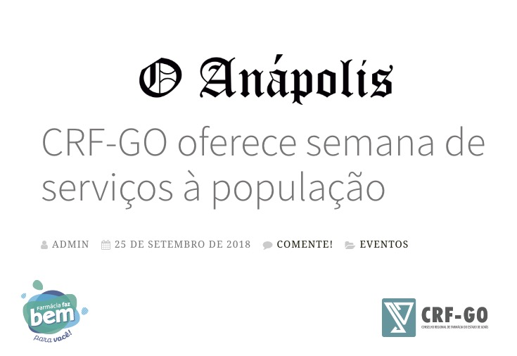 CRF-GO | Semana do Farmacêutico é noticia no O Anápolis